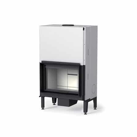 Cheminée foyer bois MCZ plasma 75 avec porte relevable revetement foyer béton blanc cheminées Jouvin Vitré