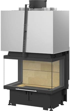 Foyer cheminée 3 faces Totem Technika avec porte escamotable