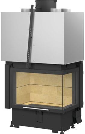Foyer cheminée Totem Technika Lateral avec vitre relevable et angle vitré