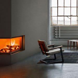 Foyer cheminée bois MCZ plasma-95dx angle vitré porte relevable cheminées jouvin vitré