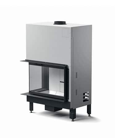 Foyer cheminée bois MCZ plasma-95dx angle vitré porte relevable