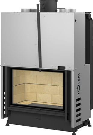 Foyer cheminée totem technika frontal nu cheminees jouvin vitré