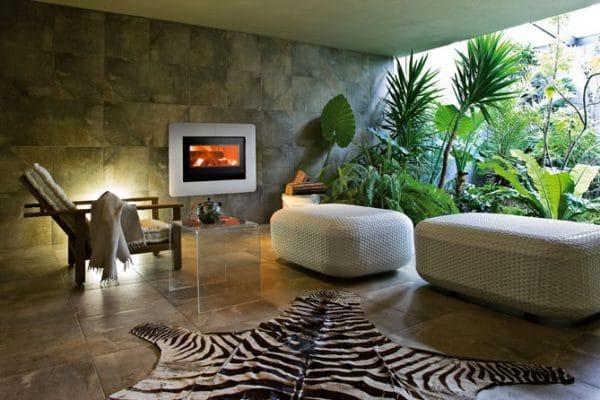 Insert cheminée foyer bois MCZ Vivo 90 avec cadre pierre ceramique design contemporain cheminées jouvin à Vitré
