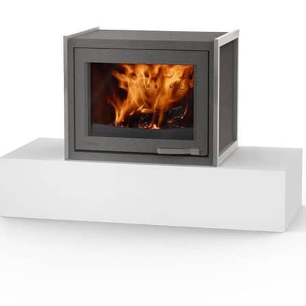 Poêle cheminée bois LORFLAM-XP68-BOX-posé-graphite- cheminées Jouvin vitré