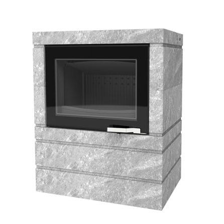 Poele cheminée à accumulation LORFLAM-XP68-BOX-Ollaire cheminées Jouvin vitré