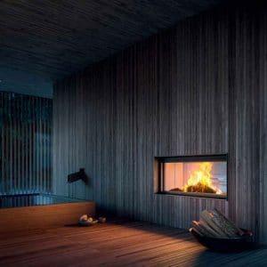 cheminée foyer bois MCZ Plasma 115 B double face avec porte relevable design contemporain