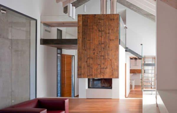 cheminée foyer bois MCZ Plasma 115 avec porte relevable design céramique