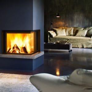 cheminée foyer bois MCZ plasma 75 DX angle vitré porte relevable