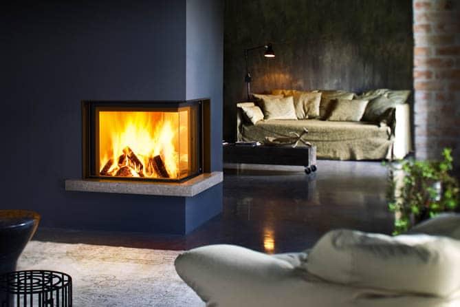 habillage Guttuso angolo pour cheminée foyer MCZ plasma 75 DX