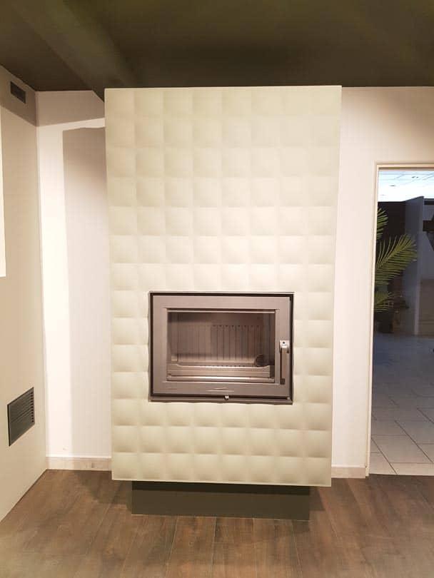 cheminée design fonte lorflam easy 75 - coffre staff capiton